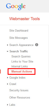 Google Webmaster Tools - Manual Action