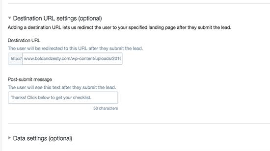 Destination URL Settings