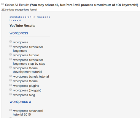 Google Keyword Suggest Results