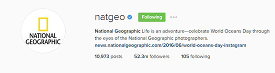 National Geographic Instagram Landing Page